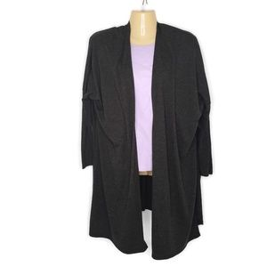Lucy Lightweight Wool Blend Split Cardigan Gray